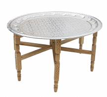 Moroccan  Aluminium Tray Table with Cedar Wood Legs Diameter 76 cm. (ALT17CW)